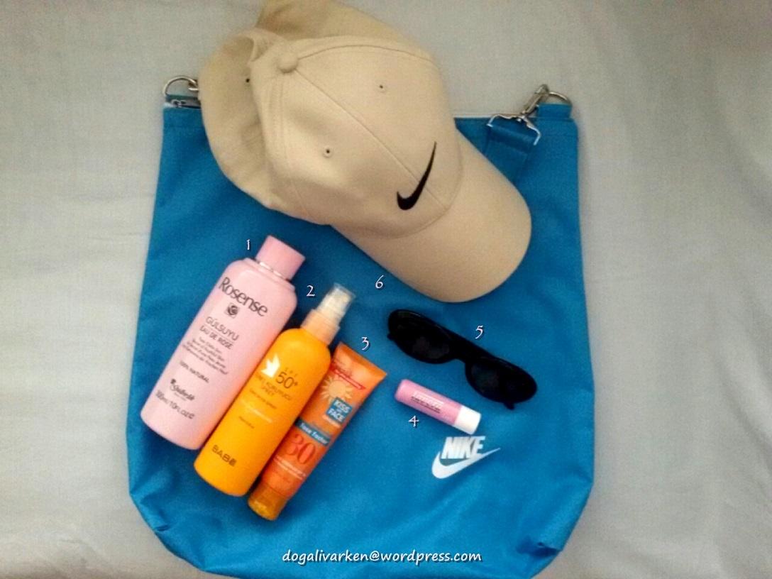 Kültür gezisi yaparken çantamda olan malzemeler